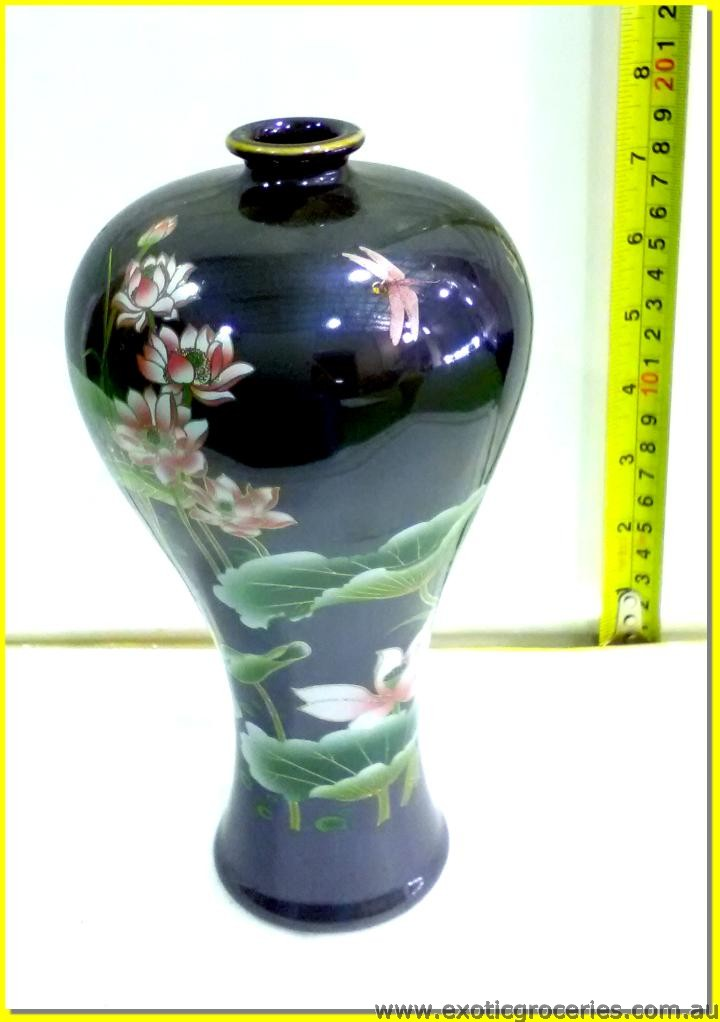 Chinese Vase Lotus Flowers Dark Brown