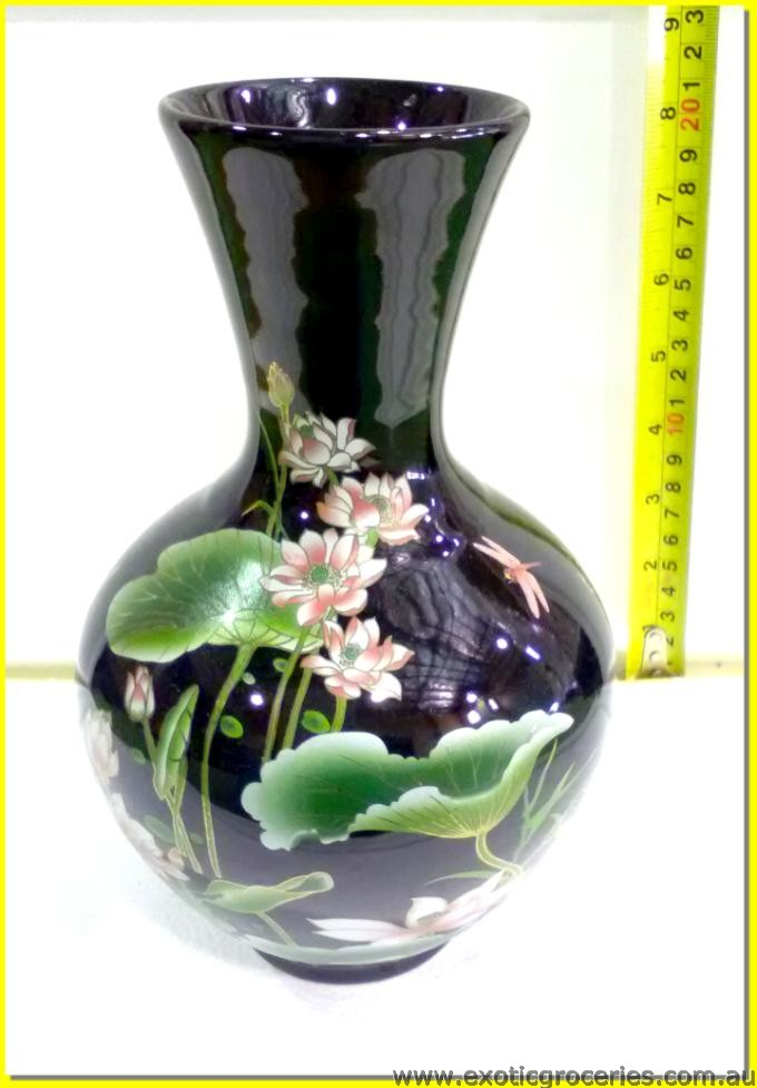 Chinese Vase Lotus Flowers Black