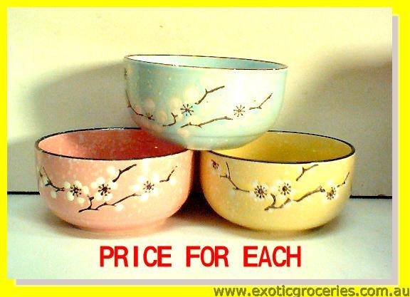 Blue/Pink/Yellow Japanese Style Floral Bowl 4.5""
