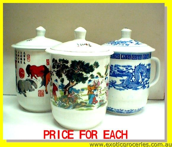 "Chinese Mug with Lid 5.5"" Extra Large"