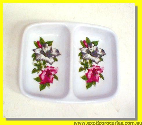 Red Floral Divided Saucer (Melamine)