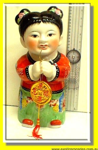 Lucky Chinese Kid Statue Female