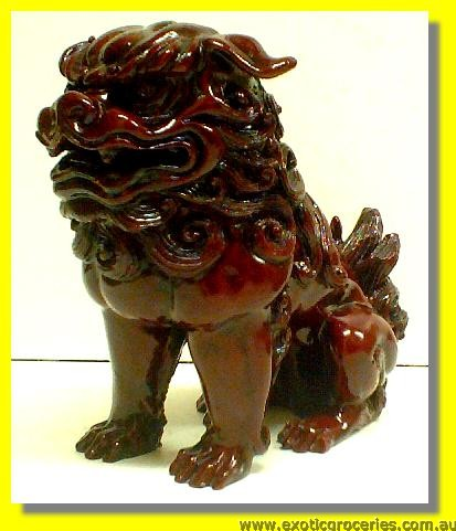 Lucky Fortune Wooden Lion 6""