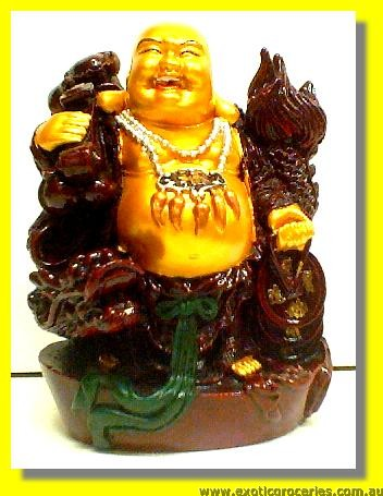 Lucky Golden Smiling Buddha 7inch