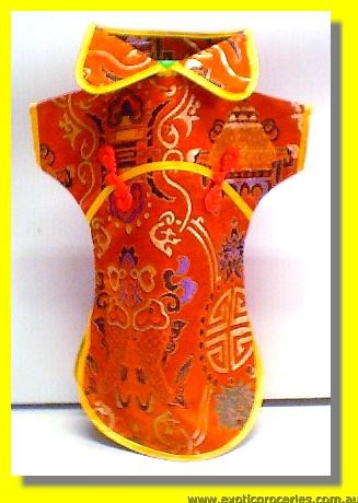 Chinese Orange Embroidery Bottle Clothes 30CM H