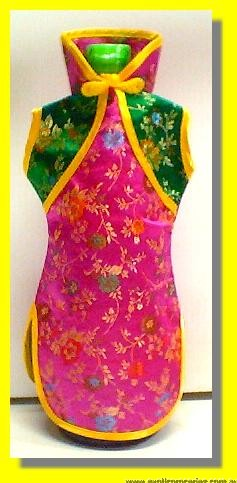 Chinese Embroidery Pink Green Bottle Clothes 30CM