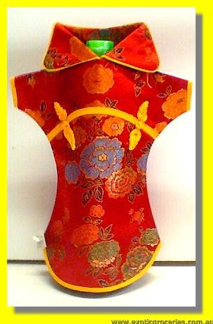 Chinese Embroidery Red Bottle Clothes for Wine 30 CM