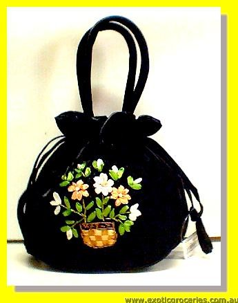 "Chinese Black Embroidery Floral Hangbag 10"" H"