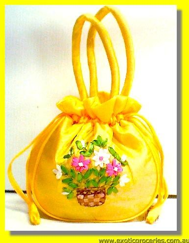 "Chinese Embroidery Yellow Handbag 10""H"