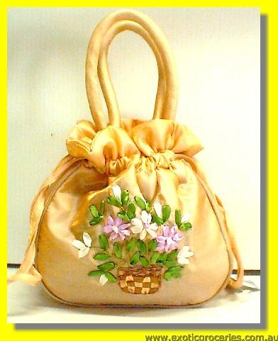 "Chinese Embroidery Floral Handbag 10""H"