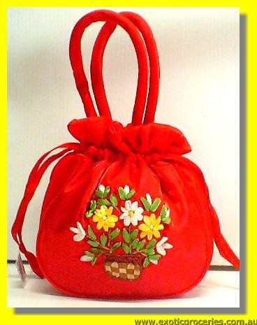 "Chinese Embroidery Red Floral Handbag 10""H"
