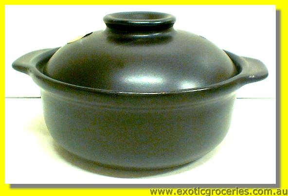 2 Handle Clay Pot Black 15.5CM QF1665
