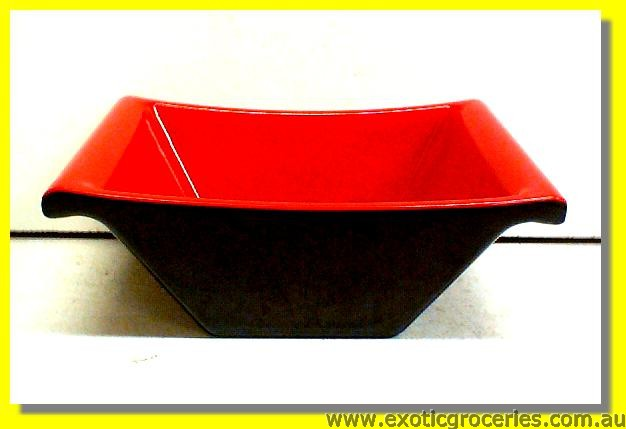 Red Black Rectangular Bowl 13cm