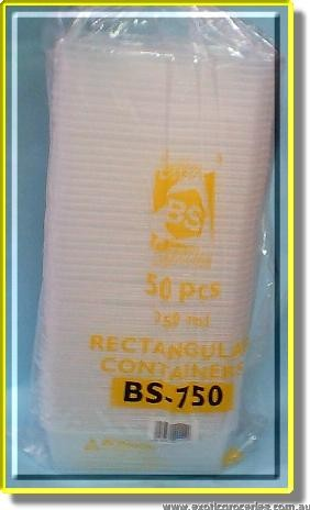 BS-750 50 pcs 750ml Rectangular Container