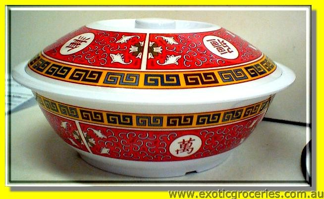 "10"" Red Long Life Melamine Bowl w/lid"