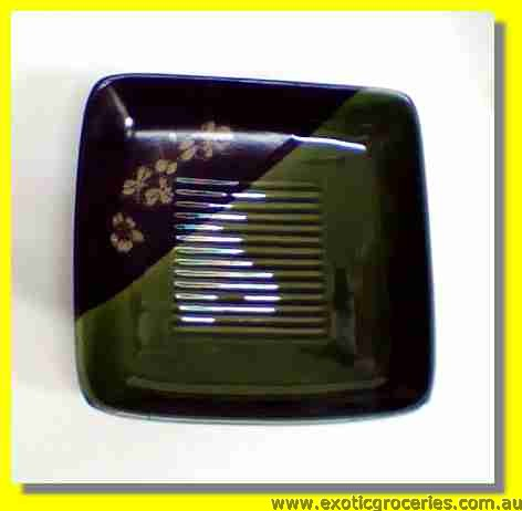 Japanese Style Green Ceramic Square Plate 6.25""