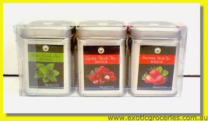 Assorted Flavour Black Tea (Strawberry, Lychee, Mint)