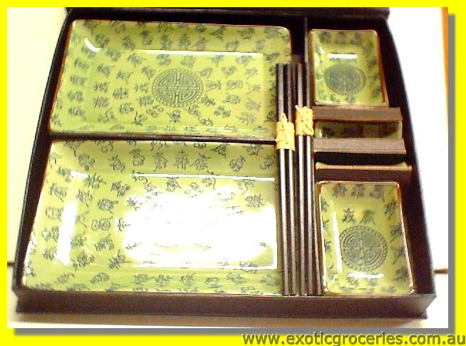 8pc Ming Dish With Chopsticks Set  AX081750-G