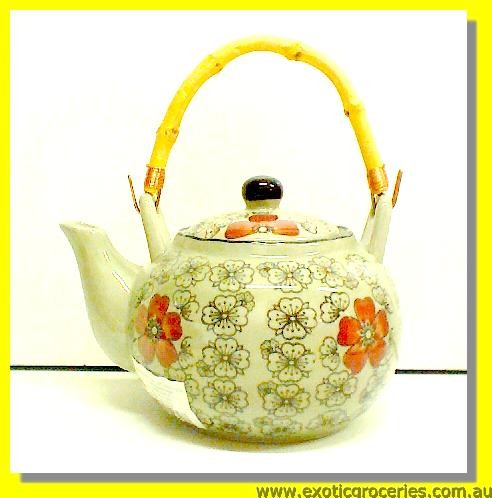 Japanese Style Red Blossom Teapot with Bamboo Handle