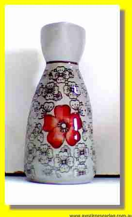 Red Blossom Sake Bottle H186