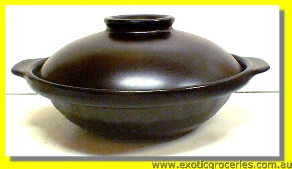2 Handle Black Clay Pot 23CM QK2471