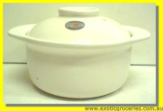 2 Handle Clay Pot White 20C MQA207