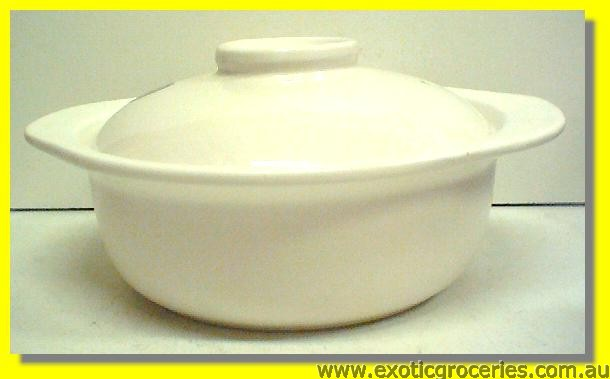 2 Handle Clay Pot White 26CM QA209