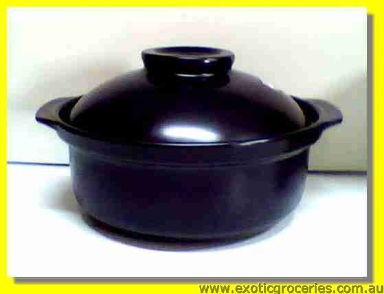 2 Handle Black Clay Pot 24cm QF2411