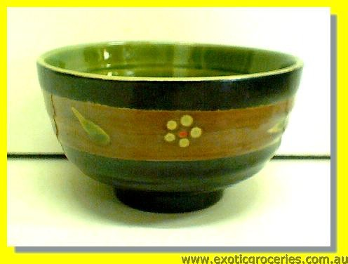 "Black Green Floral Bowl 4.5"" W17157"