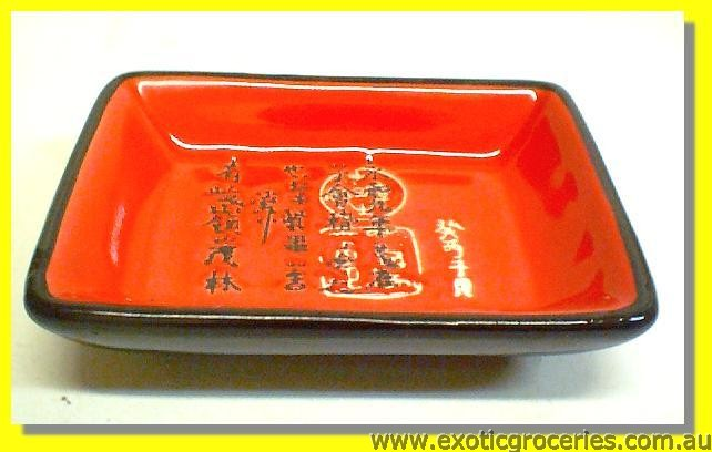 Black Red Saucer with Chinese Writing