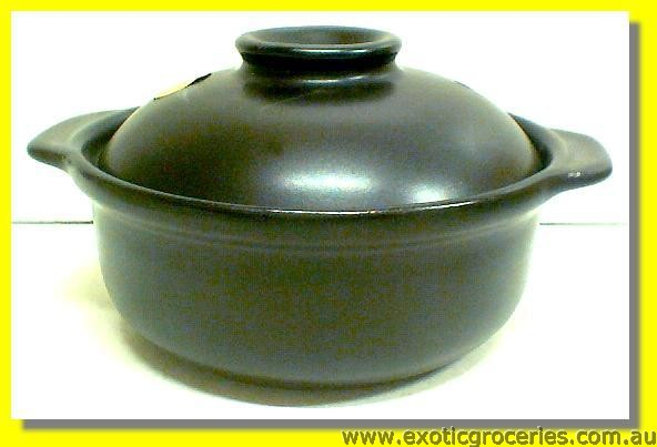 2 Handles Clay Pot Black 15.5cm