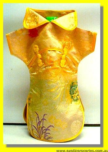 Chinese Embroidery Yellow Bottle Clothes for Wine 30 CM