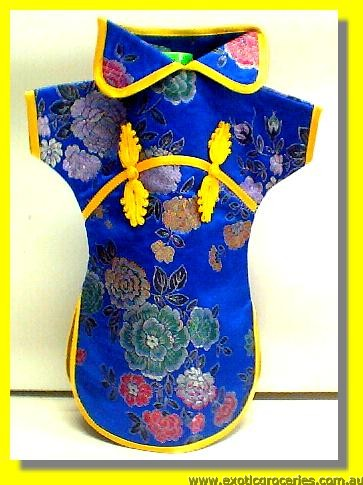 Chinese Embroidery Blue Bottle Clothes for Wine 30 CM
