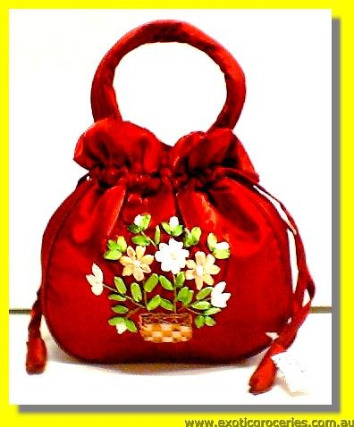 "Chinese Red Embroidery Floral Hangbag 10"" H"