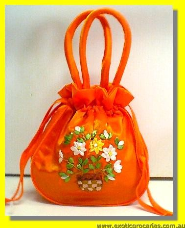 "Chinese Orange Embroidery Floral Hangbag 10"" H"